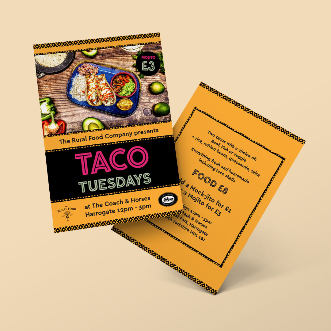 The Rural Food Company Taco Tuesdays double sided flyer